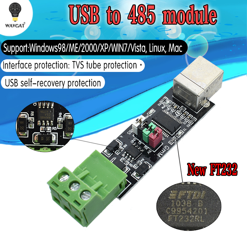 FT232 USB 2.0 To TTL RS485 Serial Converter Adapter FTDI Module FT232RL SN75176 Double Function Double For Protection Top Sale