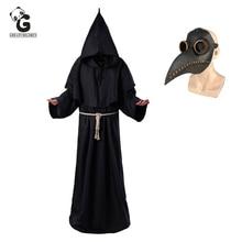 طاعون الطبيب ازياء للرجال راهب تأثيري الطاعون الطبيب Maske Steampunk رداء الكاهن الرعب المعالج هالوين الساحرة فستان المرأة