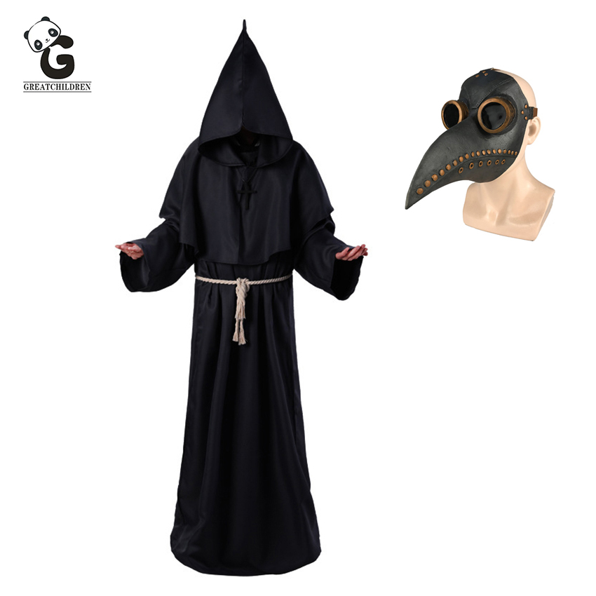 Plague Doctor Costumes for Men Monk Cosplay Plague Doctor Maske Steampunk Robe Priest horror Wizard Halloween Witch Dress WomenScary Costumes   -
