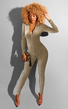 OEAK 2019 Women Autumn Velvet Striped Bodycon Jumpsuits Long Sleeve Zipper Skinny Solid Casual Rompers One Piece Overalls