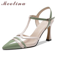 Meotina High Heels Women Shoes Natiral Genuine Leather Buckle Thin High Heel T-strap Shoes Mixed Colors Pointed Toe Pumps Ladies stylesowner 2018 new arrival soft genuine leather women pumps sexy buckle strap pointed toe super high thin heels party shoes