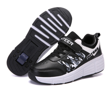 EUR 31-42 Children Junior Roller Skate Shoes Kids Sneakers With One Two 2020 Boys Girls Wheels Shoes Adult Casual boys Shoes cheap Warm like home Rubber Fits true to size take your normal size 0-1M 14T Cotton Fabric Elastic band geometric spring summer autumn winter