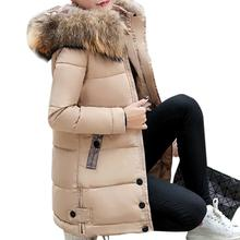 Female Winter Jackets and Long Coats 2019 Hooded Parkas for Women Wadded Jacket Warm Outwear Faux Fur Collar Thick Warm Overcoat стоимость