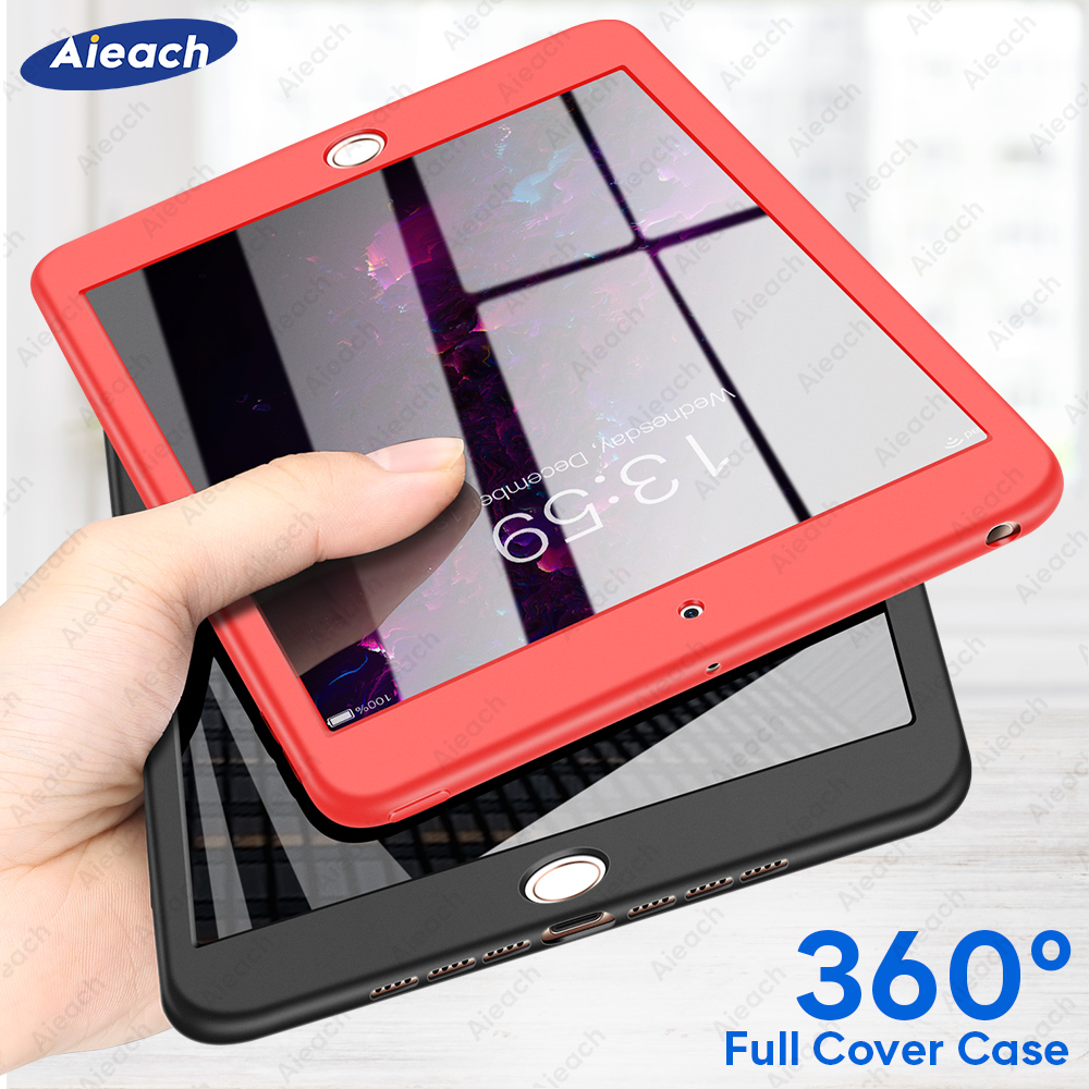 360 Full Cover Case For 2017 2018 2019 IPad 10.2 9.7 Case With Tempered Glass Soft Funda For IPad 7th 6th 5th Generation Case