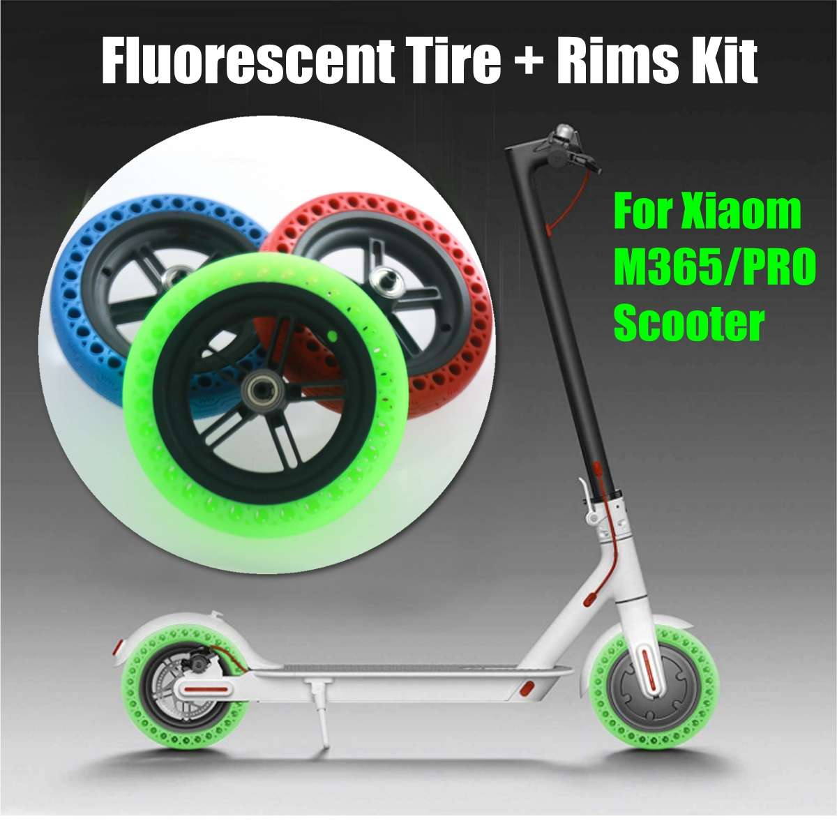 Luminous Fluorescent Hollow Solid Wheel Tyre Tires for Xiaomi Mijia M365 Scooter