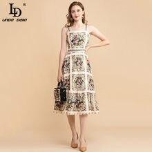 Ld linda della outono moda pista vintage vestido feminino cinta de espaguete bonito floral impressão midi midi festa elegante vestido