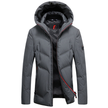 2019 Lange Down Jacket Hooded Mannen Winter Jas Hoed Grijs Eendendons Knappe Kwaliteit Comfortabele Mode Causale Warm Uitloper