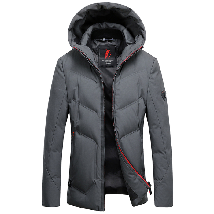 2019 Long Down Jacket Hooded Men Winter Coat Hat Grey Duck Down Handsome Quality Comfortable Fashion Causal  Warm Outwear