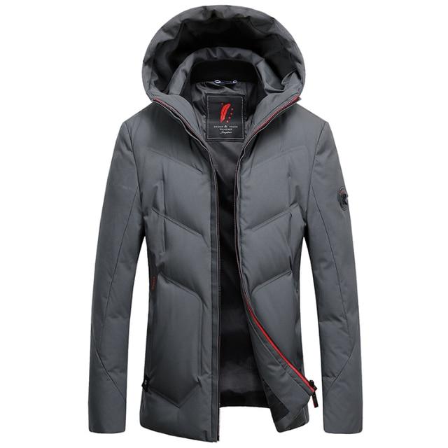 2019 긴 다운 재킷 후드 남성 겨울 코트 모자 회색 오리 잘 생긴 품질 편안한 패션 인과 따뜻한 outwear