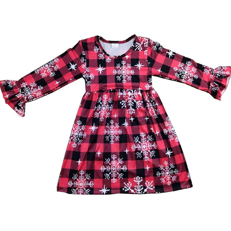 RTS black&<font><b>red</b></font> check snowflake <font><b>girl</b></font> winter <font><b>dress</b></font> <font><b>christmas</b></font> kids toddler <font><b>girl</b></font> cute holiday <font><b>long</b></font> <font><b>sleeve</b></font> <font><b>dress</b></font> image
