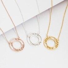 купить Classic Circle Pendant Necklace Women Customized Roman Numerals Necklace Chain Rose Gold Stainless Steel Jewelry Bridesmaid Gift дешево