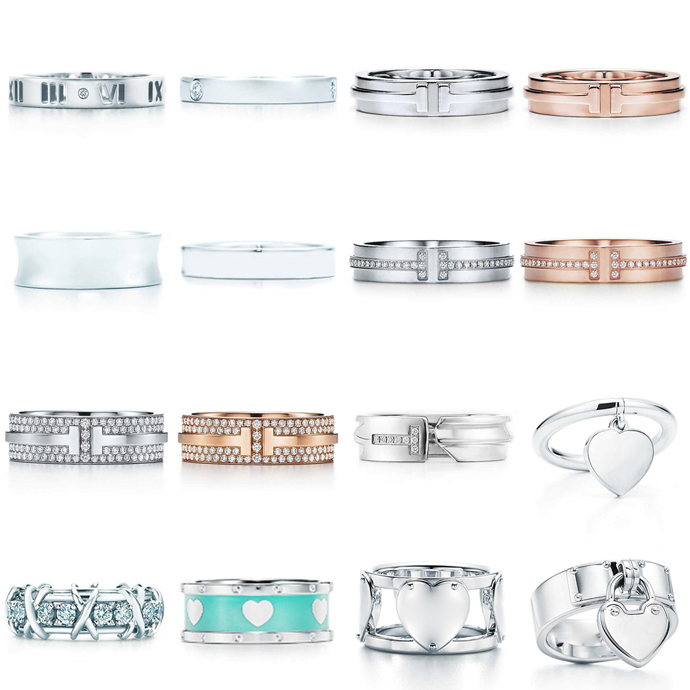 NEW 100% 925 Sterling Silver Blue Heart Classic Letter Logo Zircon TIF Ring Color Rose Gold Women Original Fashion Jewelry Gift
