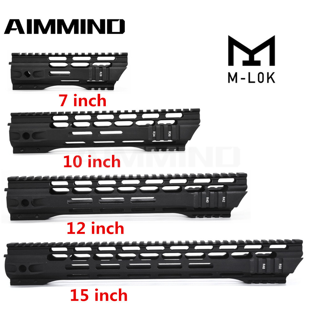 7 10 12 15 Inch AEG M4 M16 AR15 Free Float M-Lock Quad Rail Handguard Picatinny Rail With Barrel Nut For Hunting