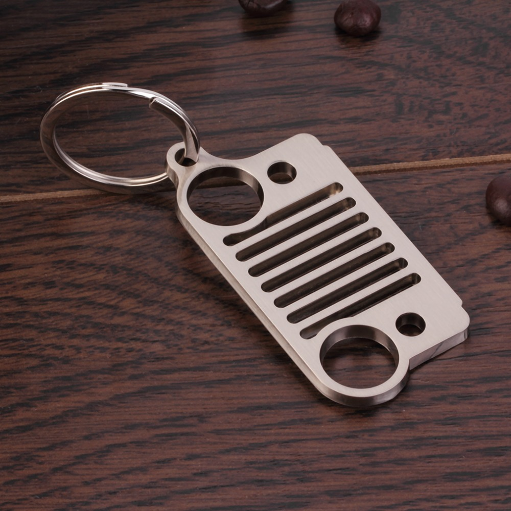 1 Pc Portable Outdoor Tool Stainless Steel Unique Design Jeep Grill Key Chain KeyChain Key Ring CJ JK TJ YJ XJ Silver