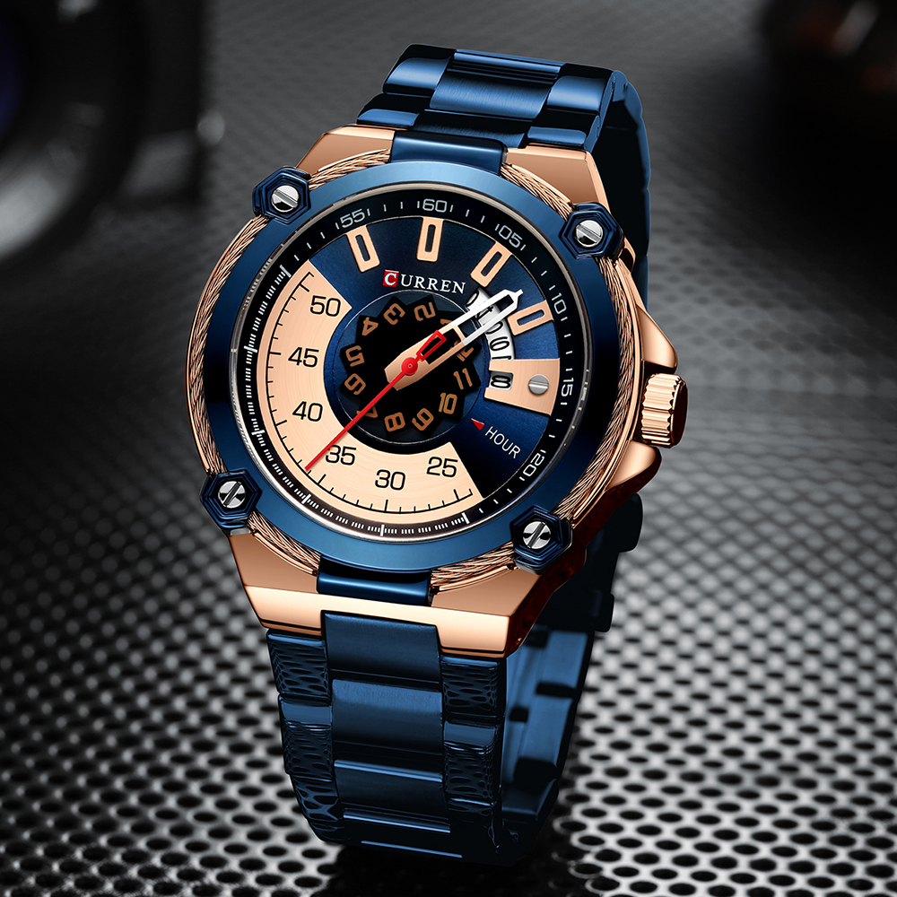 CURREN New Top Brand Men Watches Men's Full Steel Waterproof Casual Quartz Date Clock Male Wrist Watch Relogio Masculino