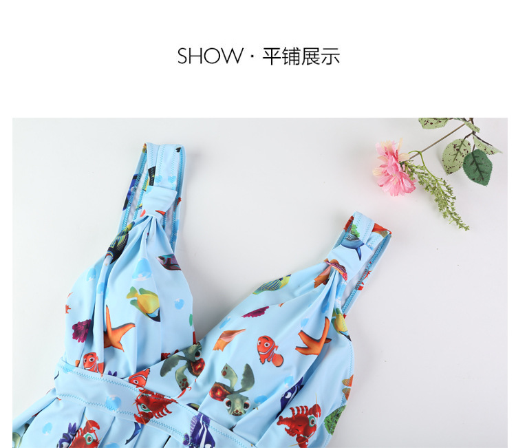 Korean conjoined swimsuit with steel bracket and padded swimsuit printed to cover the belly and show thin gathered swimsuit wome