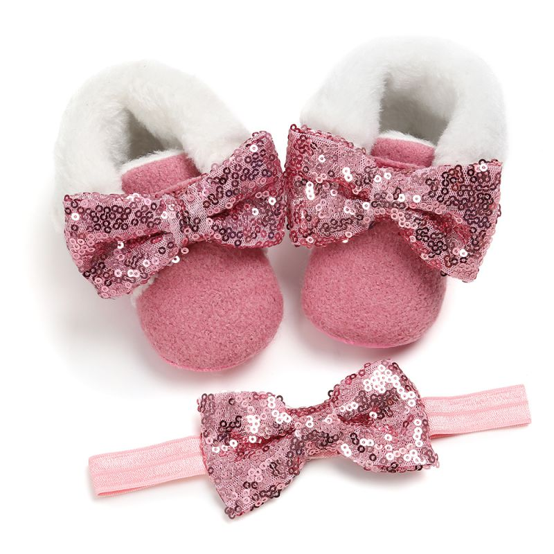 Newborn Baby Infant Girl Boots Crib Shoes Prewalkers Snow Winter Warm Princess Toddler Baby Shoes With Headband