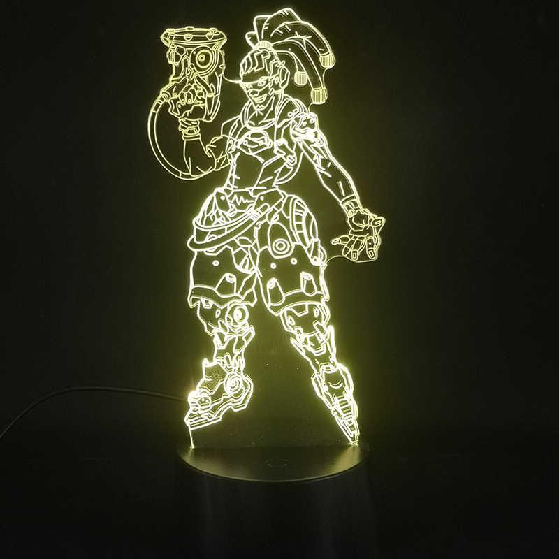 مصباح ثلاثي الأبعاد لعبة Overwatch Hero Lucio أفضل هدية للأطفال مشرق قاعدة الغلاف الجوي دروبشيب متعدد الألوان Led ضوء الليل مصباح