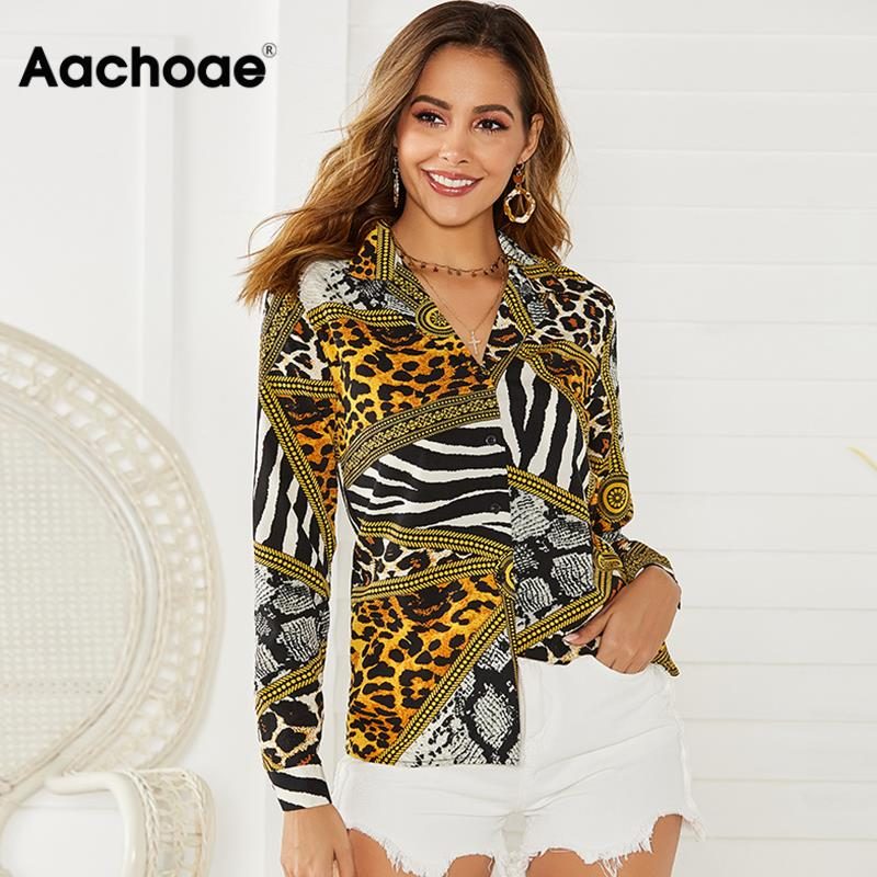 Aachoae 2020 Women Tops And Blouse Sexy Leopard Print Long Sleeve Blouse Turn Down Collar Office Shirt For Lady Plus Size Blusa