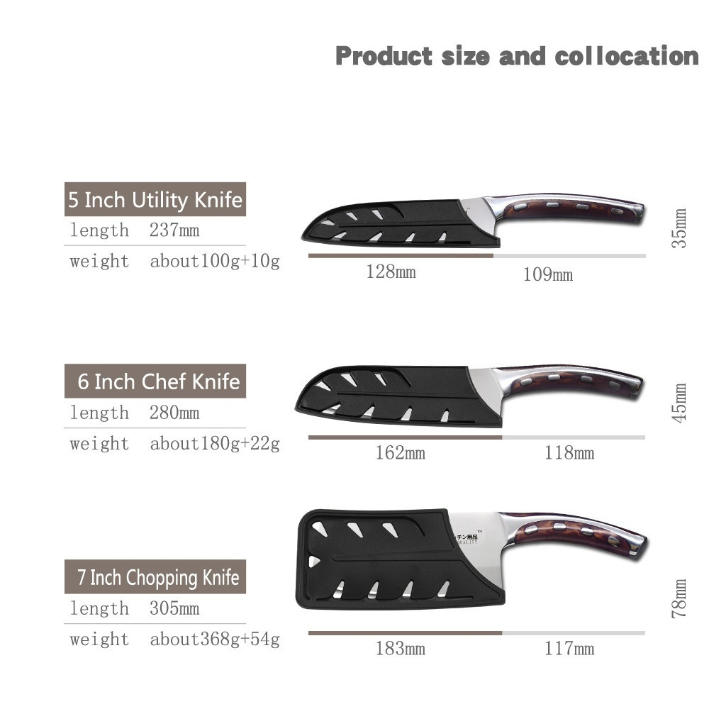 4Cr13 Chef Knife 7 inch Chinese Kitchen Knives Meat Fish Vegetables Slicing Knife Super Sharp Stainless Steel Kitchen Knife Set 6