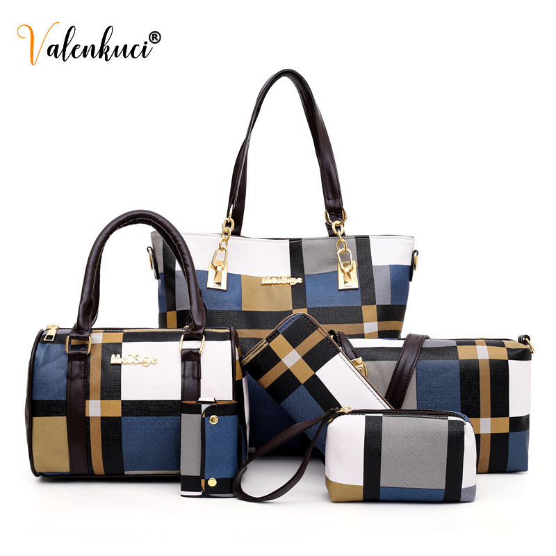 New Fashion Luxury Handbags New 6 PCS Set Women Plaid Colors Handbag Female Shoulder Bag Travel Shopping Ladies Crossbody Bag 3