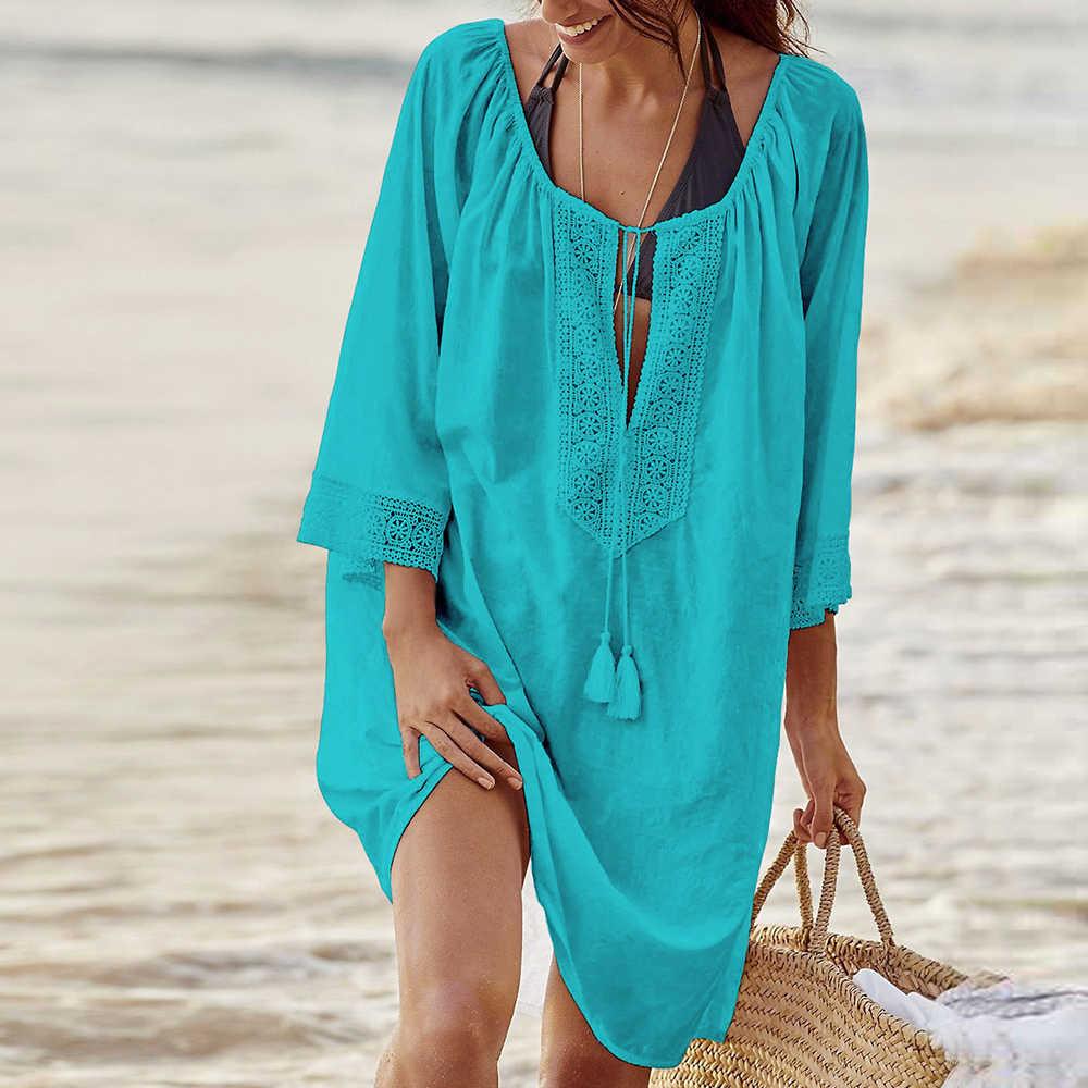 נשים קיץ חוף שמלת מקסי Bohe פרחוני שמלת תחרה רופפת שרוולים שמלת התלקחות מיני קצר שמלה קיצית חדש עזיבות סקסי שמלה # Y7
