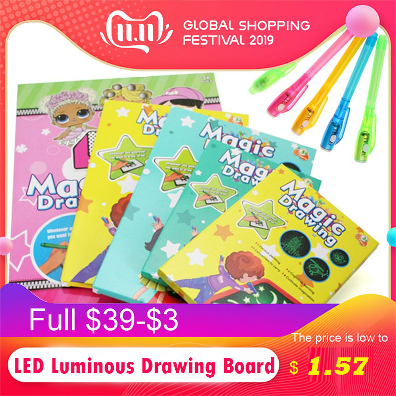 1PC A5 LED Luminous Drawing Board Graffiti Doodle Drawing Tablet Magic Draw With Light-Fun Fluorescent Pen Educational Toy Gigt