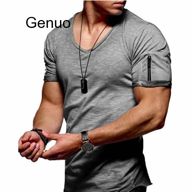 New Men's V-neck T-shirt Fitness Bodybuilding T-shirt High Street Summer Short-sleeved Zipper Casual Cotton Top