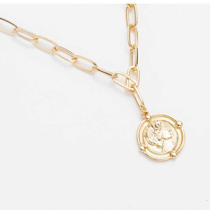 Gorączka i darmowe minimalizm biżuteria proste monety długi łańcuch złoty naszyjnik delikatne rzeźbione Rune wisiorek naszyjniki dla kobiet Choker prezent