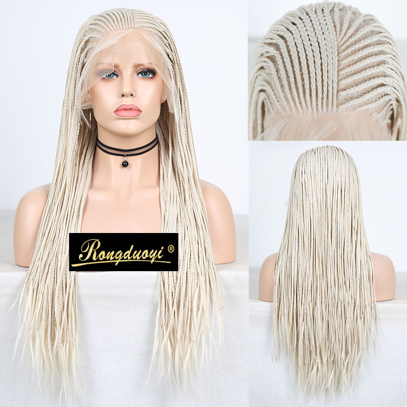 RONGDUOYI Platinum Blond Braided Box Braids Wig Long 13X6 Synthetic Lace Front Wigs For Women Deep Part Blonded Hair Lace Wig