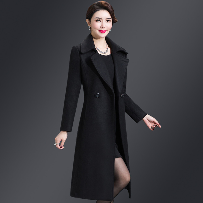New Women Wool Blends Long Coat Autumn Winter 2019 Fashion Sashes Woolen Jacket Slim Outerwear Female in Wool amp Blends from Women 39 s Clothing