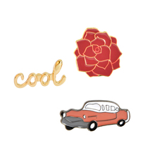 Fashion Vintage Cool Flower Red Car Automobile Brooch collar badge Hat Jeans Jackets Accessories