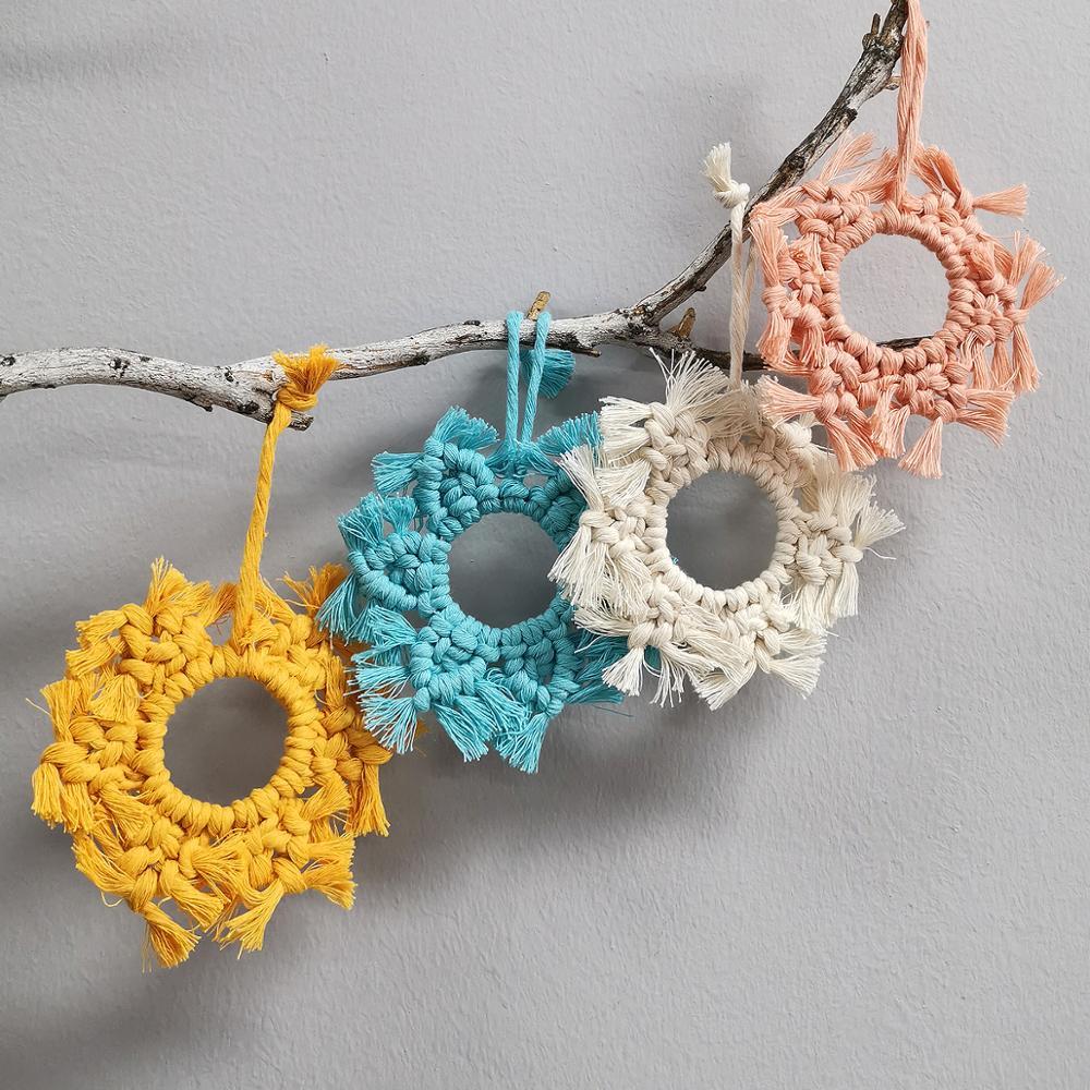 Nordic Macrame Boho Handmade Fringe Placemat  Room Decoration Rainbow Macrame Coaster New Products 2020 Gift For Women