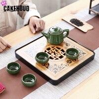 CAKEHOUD Travel Kung Fu Tea Set Melamine Bamboo Tea Tray China KUNGFU Tea Table Service Tray BOX Applicable To KUNGFU Tea Set