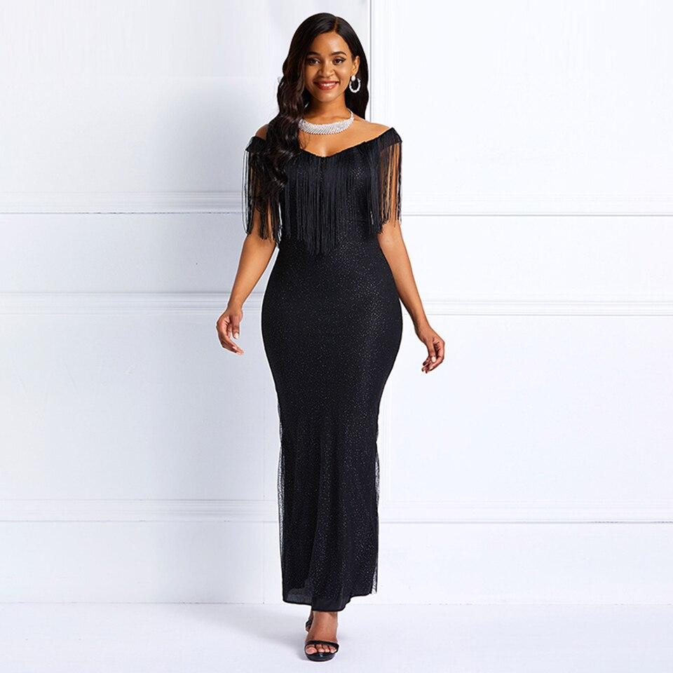 Dark Black Prom Dress Sexy Mermaid Sequins Off Shoulder Fashion Prom Evening Ladies Elegant Party Formal Prom Dresses