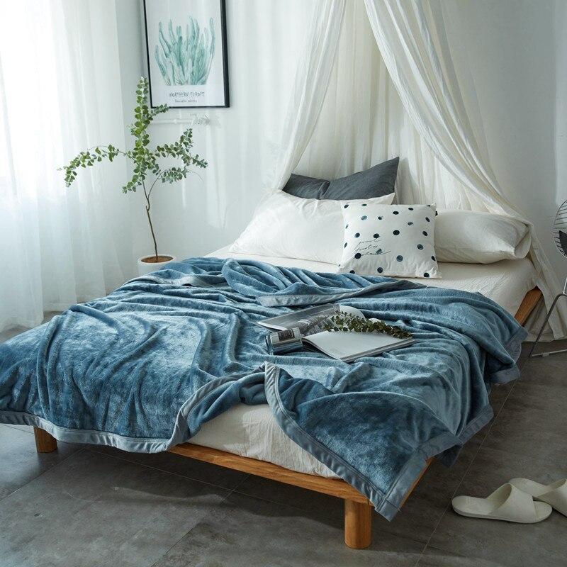Simanfei hiver laine couverture épaisse solide flanelle pondérée adulte polaire couverture de fourrure doux chaud moelleux bleu voyage jeter couverture