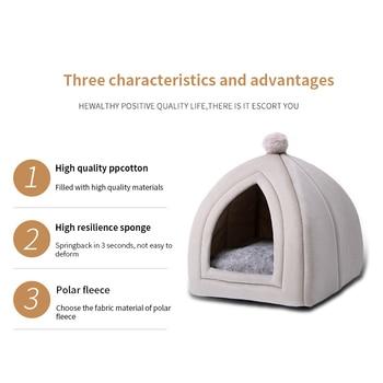 Winter Warm Pet Cat Bed House Soft Foldable Non-slip Bottom 5