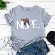 JCGO Summer Women Tshirt Cotton Plus Size 5XL Short Sleeve Funny Nope Lazy Sloth Print Female Casual
