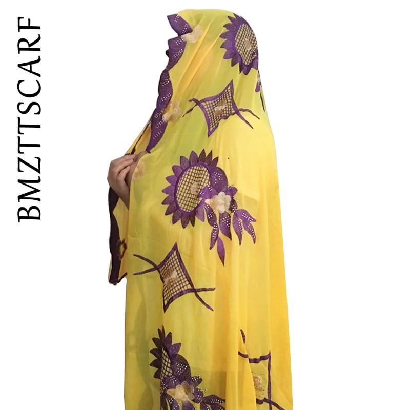 New African Women Scarf  Embroidery Muslim Women Big Chiffon Scarf Soft Cotton Scarf For Shawls BM345