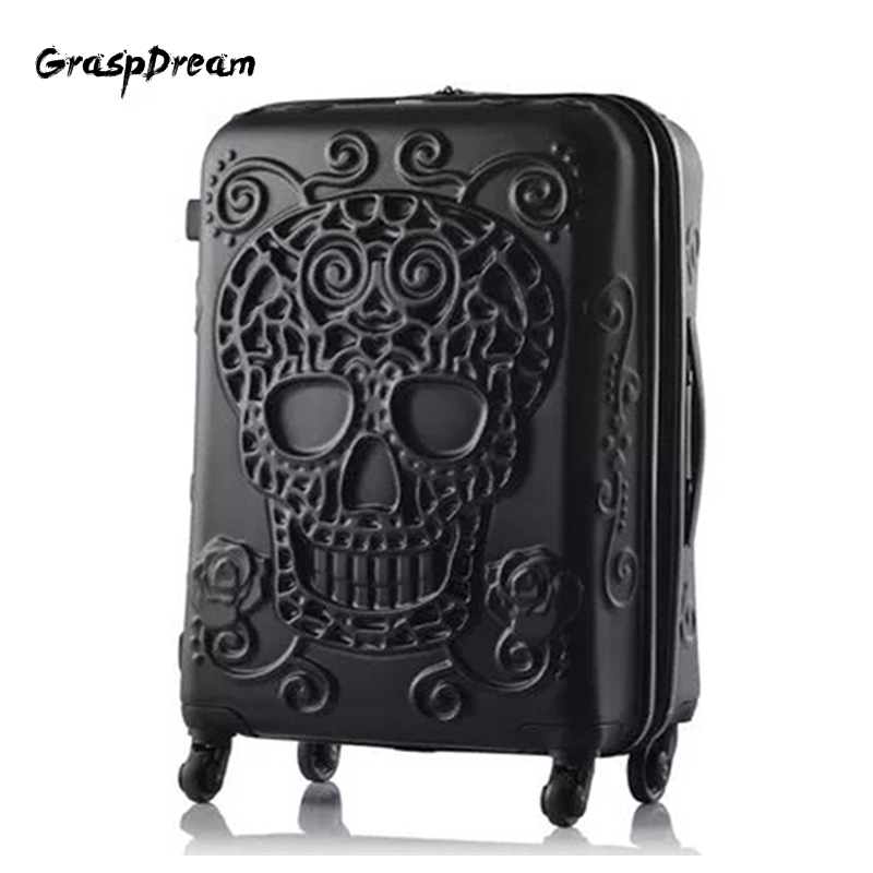 Travel Suitcase Trolley-Bag Boarding Valise Skull-Rolling-Luggage Fashion British-Brand