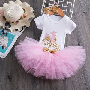 My Little Baby Girl First 1st Birthday Party Dress Cute Pink Tutu Cake Outfits Infant Dresses Baby Girls Baptism Clothes 0-12M(China)