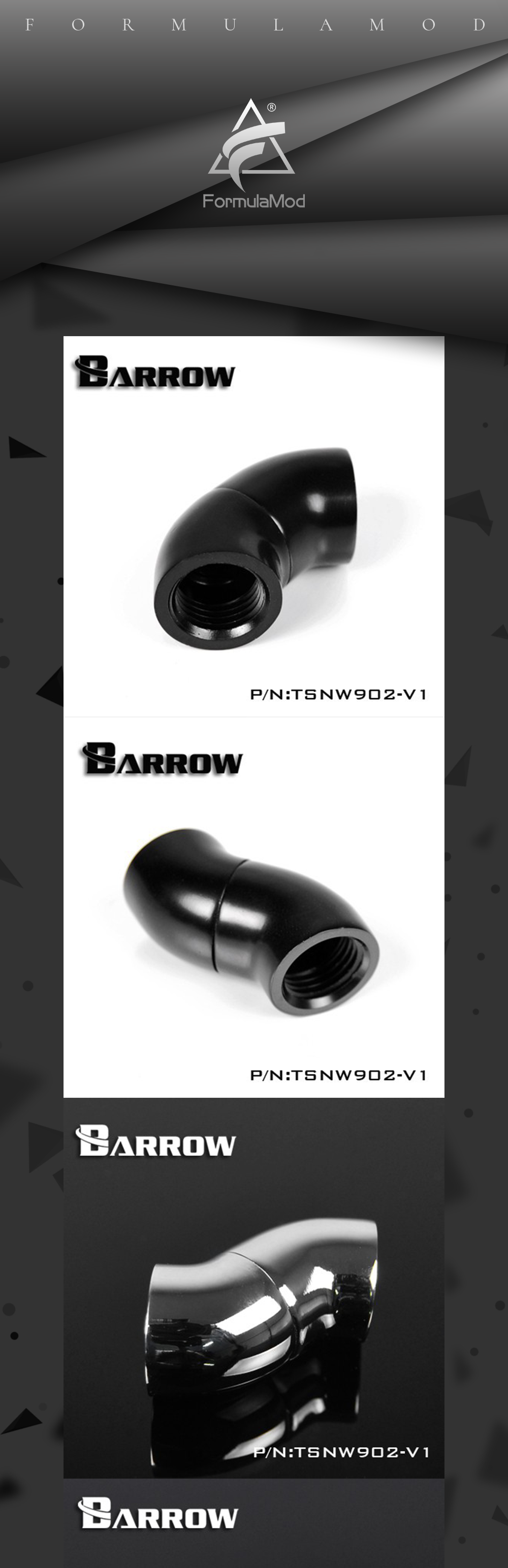"Barrow G1 / 4 "" Black Silver 90 degrees double female 360 degree rotatable water cooling connector TSNW902-V1"