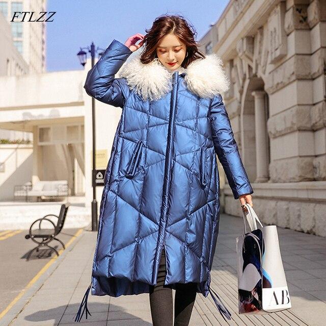 FTLZZ 2020 Winter Jacket Women 90% White Duck Down Coats Large Fur Collar Loose Parkas Outerwear Thick Waterproof Jackets