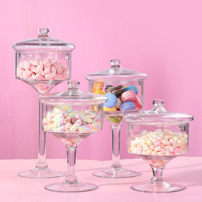 Bocal à bonbons en verre Transparent | De style nordique, plateau anti-poussière avec couvercle, plateau de Dessert de mariage, réservoir de stockage de bonbons pour la maison