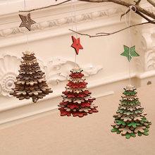 Najnowsze ozdoby choinkowe choinka wiszące 3D wisiorki płatki śniegu drewniana gwiazda ozdoby choinkowe na dom nowy rok 2021 tanie tanio g-221 Navidad new Year decoration noel