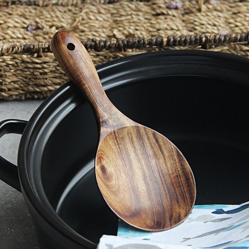 Teak Wood Rice Spoon Rice Paddle Scoop Wooden Kitchen Spoon Ladle Tablespoon Big Serving Spoon Wooden Kitchen Utensils Tableware