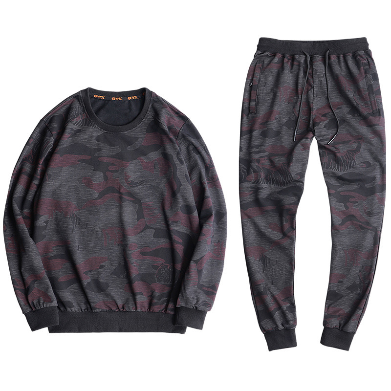 Men's Loose Large Size L-9XL Running Set 95% Cotton Comfortable Outdoor Tiger Printing Camouflage Sports Suit