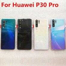 עבור P30 פרו מקורי מזג זכוכית חזרה כיסוי חלקי חילוף עבור Huawei P30 פרו חזרה סוללה כיסוי דלת שיכון + מצלמה מסגרת