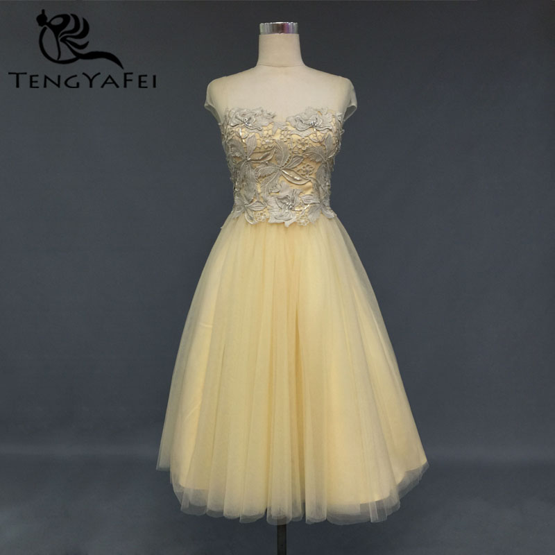 Vestido De Noiva Short Prom Gown A-line Lace Beading 2020 Knee-length Cap Sleeve Vestido De Festa Yellow Bridesmaid Dresses