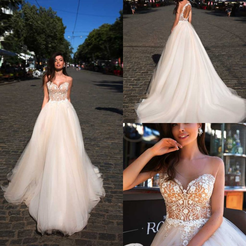 2020 Designed Wedding Dresses Jewel Sleeveless Lace Appliques Bridal Gowns Hollow Back Sweep Train A-Line Wedding Dress